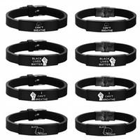 Schwarz Lives Matter Silikon-Armband ICH KANN NICHT BREATHE schwarze Silikon-Edelstahl-Armband-Armbänder für Männer Frauen Partei-Bevorzugung RRA3134
