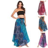 Beach Femmes Robe Été Big Hem ligne Jupe Rouge Bleu Vert Maxi Robes Ventre Dance Versée Fashion Populaire 35sk D1
