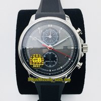 GB V3 versão de atualização Portugieser Yacht Club Cronógrafo 390.204 Cal.89360 mecânico automático Cinza Dial Mens relógio de aço Caso Desporto Relógios
