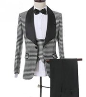 Cotton Houndstooth Groom Tuxedos One Button Shawl Lapel Man ...