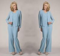 Light Blue Mother Of The Bride Suits Pant Elegant Formal Vestidos Plus Size Simples Vestidos DH4028