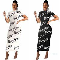 여성 편지 인쇄 긴 드레스 패션 Bodycon 드레스 유행 여름 반팔 캐주얼 티셔츠 스키니 슬림 드레스 여성 파티 의류 E3503