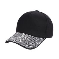 Hat Summer Womens Fashion Casual Solid Baseball Cap Rhinesto...