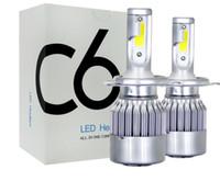 1 Pair ucuz fiyat COB C6 Gerçek 7600LM 120 W LED Araba Far H1 H3 H4 H7 9003 9004 9005 9006 Kiti Hi / Lo Ampuller 6000 K