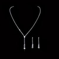 Stock Crystal Bridal 쥬얼리 세트 도금 목걸이 다이아몬드 귀걸이 웨딩 쥬얼리 신부 들러리 액세서리에 대 한 웨딩 쥬얼리 세트 무료 배송