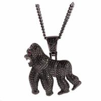 Gioielli di personalità Gorilla della collana di Hip Hop burrascoso Animal completa 3A CZ zircone Bling fuori ghiacciato pendenti di collana per gli uomini Rapper