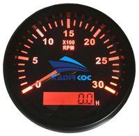 1 개의 빨간 역광선 자동 타코미터의 팩 85mm 0-3000RPM 레브 카운터 자동차 트럭 보트에 대한 시간 측정기와 LCD 혁명 미터