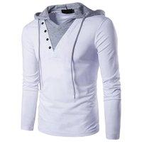 Diseñador camiseta larga encapuchada suéter para hombre de la manga manera de las tapas con paneles Adolescentes camisetas casual para hombre color puro