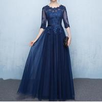 Elegante blu navy Madre della sposa Abiti Abiti mezze maniche Sheer con applique Lace-up Back floor lunghezza Abiti da madre a buon mercato