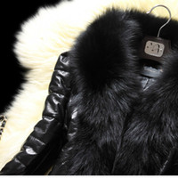 SUSOLA New 2020 Winter Fur Coat Faux Fur Collar Long Leather...