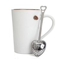 Mutfak Aracı Aşk Kalp Şekli Tarzı Paslanmaz Çelik Çay demlik Çay kaşığı Süzgeç Kaşık Filtre kaliteli