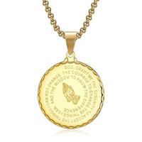 Heren medaille hanger gebed ketting met 22 inch gratis ketting christelijke sieraden roestvrij staal bidden handen munt medaille hanger ketting 436