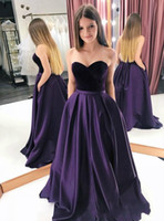 2019 Charming Purple Prom Dresses with Sweetheart Velluto Abiti da festa Abiti da sera su misura Robe De Soiree