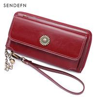 Sendefn جديد بيع النساء مخلب جلد محفظة الإناث طويلة محفظة المرأة سستة محفظة حزام حقيبة المال محفظة آيفون 7-8 5205-5 Y190701