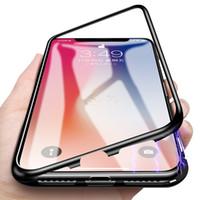 Magnetisk adsorptionsmetall + Härdad glas Inbyggd Magnet Bakpanel Telefonväska Transparent Slim Skydd till iPhone XS Max XR X 8 7 6 6s Plus
