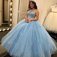 2020 Princess Light Sky Blue Quinceanera Abiti Sheer Jewel Neck Major Beaking Vestidos de quinceañera Prom Abiti da festa per Dolce 15 BC2777