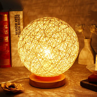 Lightme Night Light Rattan Ball Night Light Table Lamp Twine...