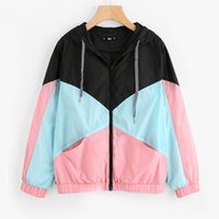 Women Jackets Patchwork Sports Coat Zipper Spring Summer Out...
