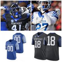 Özel Kentucky Wildcats 2019 Herhangi Bir İsim Numarası Mavi Siyah Beyaz 1 Lynn Bowden Jr. 3 Terry Wilson 56 Kash Daniel NCAA 150TH Jersey