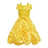 a0f6e13a9c733 Princesse Enfants Cosplay Costume Fille Jaune Fête D'anniversaire Robe De  Mariage Pour Robe De Noël Livraison Gratuite DHL