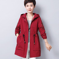 2019 New arrival hooded trench coat women Embroidery Adjusta...