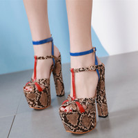 16cm sexy snake grain platform ultra high heels party shoes ...