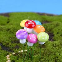 미니 시뮬레이션 귀여운 다채로운 버섯 요정 정원 모스 마이크로 풍경 장식품 지 공예 장식 스테이크 공예 홈