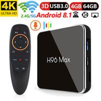 H96 Max X2 Controllo vocale Scatola TV Android 9.0 Amlogic S905 X2 4 GB DDR4 64GB ROM 2.4G / 5G WiFi USB3.0 BT4.0 4K H.265 Smart Media Player