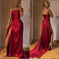 Sexig Billig Straight Stretch New Burgundy Prom Klänningar 2020 Split Front Formal Dresses Evening Plus Size Vestidos de Fiesta PD027