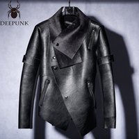 Мода-новые 2018 Кожаные мужчины и бархатная Зимняя тенденция нерегулярной мотоциклетной куртки тонкая кожаная куртка мужчины