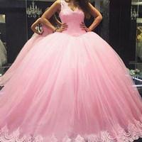 Bola rosa Vestido de Baile Vestidos de Decote Em V Sem Mangas Rendas Apliques Longo Formal Inchado Tule Vestidos de Festa À Noite Feito Sob Encomenda de Alta Qualidade