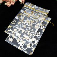 100 teile / los Weiße Organza Taschen 20x30 cm Herz Design Hochzeit Kosmetik Süßigkeiten Schmuck Verpackung Taschen Große Kordelzug Beutel Geschenktüte
