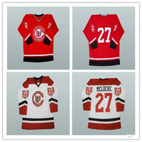 Homens personalizados XS-5XL Gilles Meloche Cleveland Barões Branco Jersey Hóquei Vermelho Qualquer nome de jogador e número