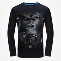 Новое Прибытие 2017 Осень мужчины 3D печатных с длинным рукавом футболки животных шаблон мужской моды хип-хоп футболки унисекс рубашки уличной D19001