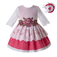 Pettigirl Pink Flower Girl Dresses Baby Lace Princess Ceremo...