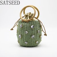 New Large Rhinestone Straw Bag Rattan Handle Woven Female Ba...