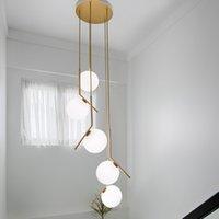 Modern Uzun Merdiven Işıkları Aydınlatma Yaratıcı Villa Oturma Odası Lamba Sihirli Fasulye Dekorasyon Cam Top Yemek Kolye Işık