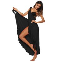 Sexy Rüschen lang Maxi Kleid 2018 Frauen-Sommer-Vertuschungen Ärmel Split Sexy Spaghetti-Bügel-Strand-Kleid Sundress WS7728V