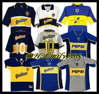 97 98 Boca Juniors Retro Fußball-Trikot Maradona ROMAN Caniggia 1997 96 2002 03 PALERMO-Fußball-Hemden Maillot Camiseta de Futbol 2005 2001
