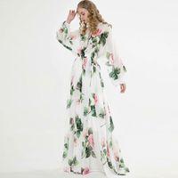 Kadın Pist Elbiseler O Yaka Uzun Kollu Çiçek Baskılı Lace Up Şık Maxi Tasarım Günlük Elbise vestidos