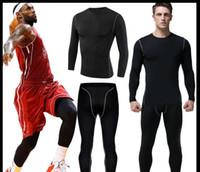 Yeni 2019 Pro Fitness giyim erkek takım elbise spor uzun kollu tayt hızlı kuruyan streç basketbol koşu eğitim pantolon spor t shirt