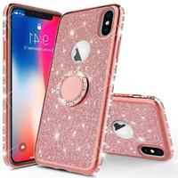 Glitter pour Apple iPhone X 11 Pro Max luxe Accessoires de téléphone mobile Pink Diamond TPU flash poudre couvercle acrylique avec support