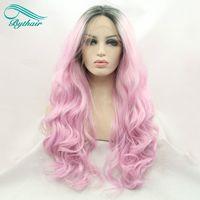 Bythairshop Ombre Pink peluca con raíces oscuras pelucas delanteras del cordón sintético Fibra resistente al calor del pelo de la onda del cuerpo para las mujeres