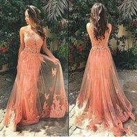 2020 Elegante puro Peach Pizzo Collo Backless Prom Dresses sexy lungo appliqued puro gonna formale Evenig partito Gowns