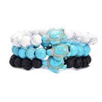 Summer Style mer Perles Tortue Bracelets classique 8MM Turquoise Pierre naturelle élastique Bracelet d'amitié plage pour les femmes Bijoux pour hommes