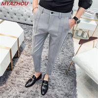 2019 erkek lüks marka rahat pantolon moda iş Ince düz renk takım elbise pantolon erkek sosyal kulübü resmi takım Boyutu 36
