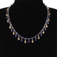 Mode Tiny Cœur Délicat Bleu Personnalisé Collier Zircon Personnalisé Gold Argent Collier Femmes Pendentif Bijoux Accessoire Cadeau