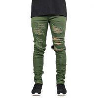 Hombres Jeans Holes Ripped Pantalons Zipper Crayon Street Fashion Hiphop Skateboard Jean Pantalons Hommes Vêtements Designer