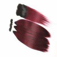 Paquetes de extensiones de cabello recto con 4x4 Cierre de cabello Free Parte Ombre Ombre Dos tonos Brasileño 100% HUMANOS PEQUEÑOS 8-28 pulgadas Color T1B / 99J