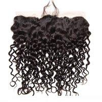 D malaisienne Cheveux Vierge 13x4 Dentelle Frontal Vague Curly Oreille humaine Cheveux à l'oreille naturelle Couleur humide et onduleux Dentelle Frontal